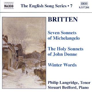 trois cycles de chansons de Benjamin Britten