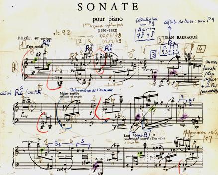 partition annotée de la Sonate de Jean Barréqué, Médiathèque Musicale Mahler