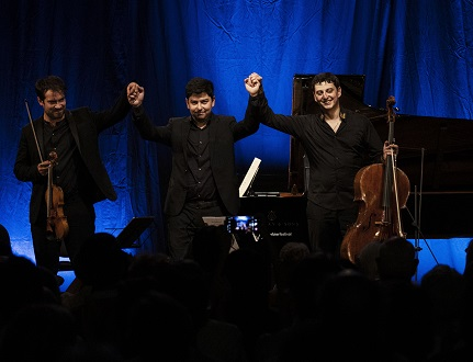 Marc Bouchkov et ses complices Behzod Adburaimov et Narek Hakhnazaryan à Verbier