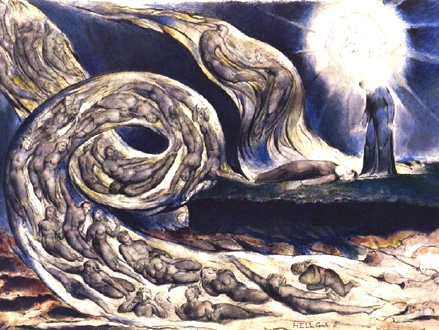 William Blake représente L'Enfer, sous l'inspiration de sa lecture de Dante