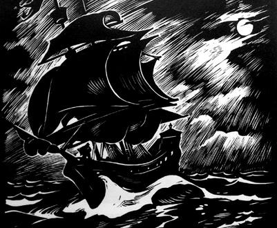 le graveur Rudolf Warnecke (1905-1994) a imaginé le Vaisseau fantôme
