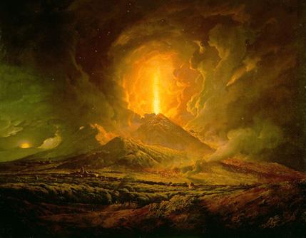 Éruption du Vénuse, peinte en 1788 par Joseph Wright of Derby