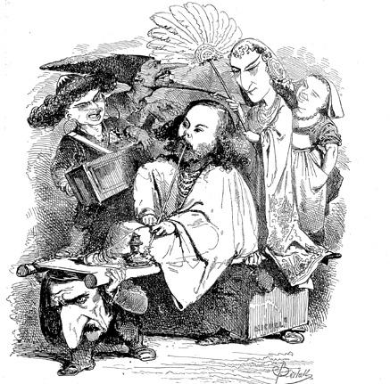 caricature de Bertall (1862) à la création de Lalla-Roukh de Félicien David