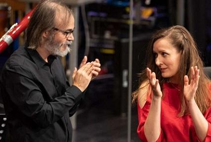 Ilan Volkov et la compositrice croate Mirela Ivičević à Donaueschingen