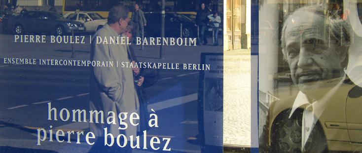 affiche des concerts des quatre-vingts ans de Pierre Boulez, à Berlin (mars2005)