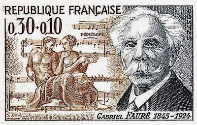 timbre ancien à l'effigie du compositeur Gabriel Fauré