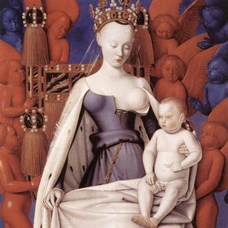 Jean Fouquet, La Vierge à l'enfant entourée d'anges, Diptyque de Melun