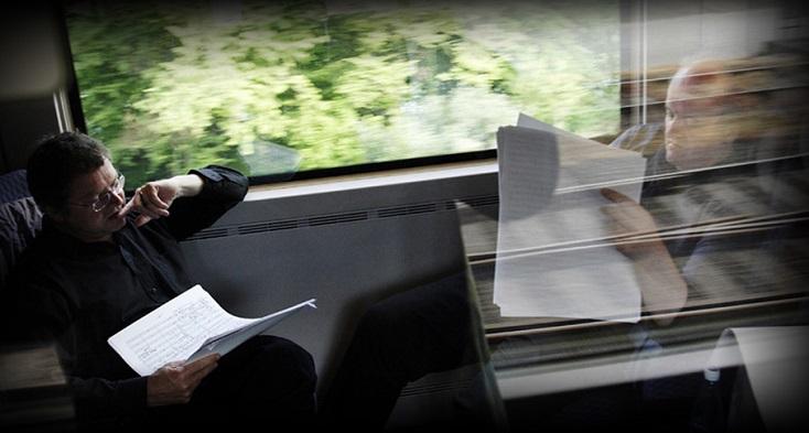 Pascal Gallois et Wolfgang Rihm voyagent en train, vers Bâle...